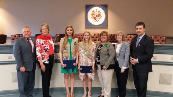 County Recognizes Two Local Girl Scouts For Service Projects Rendered
