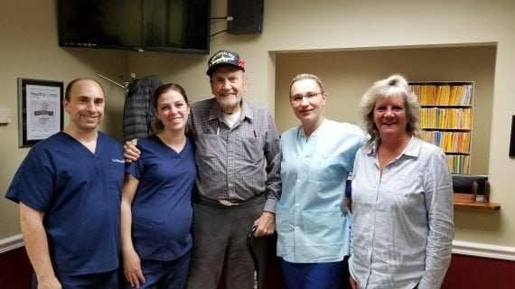 Local Dentist Removes Broken Dentures And Fee For Navy Veteran, Replaces Implants, Menu And Smile