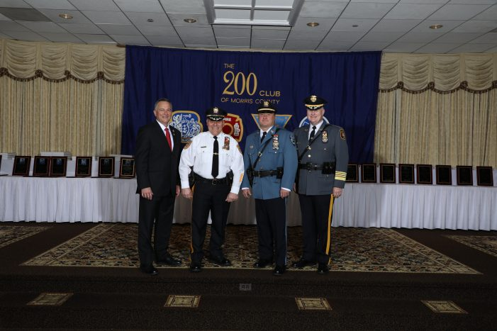 The 200 Club of Morris County recognized Heroic Actions of First Responders at recent Annual Valor and Meritorious Awards Ceremony,  Kinnelon's P.D. Lieutenant Joseph Napoletano Recognized