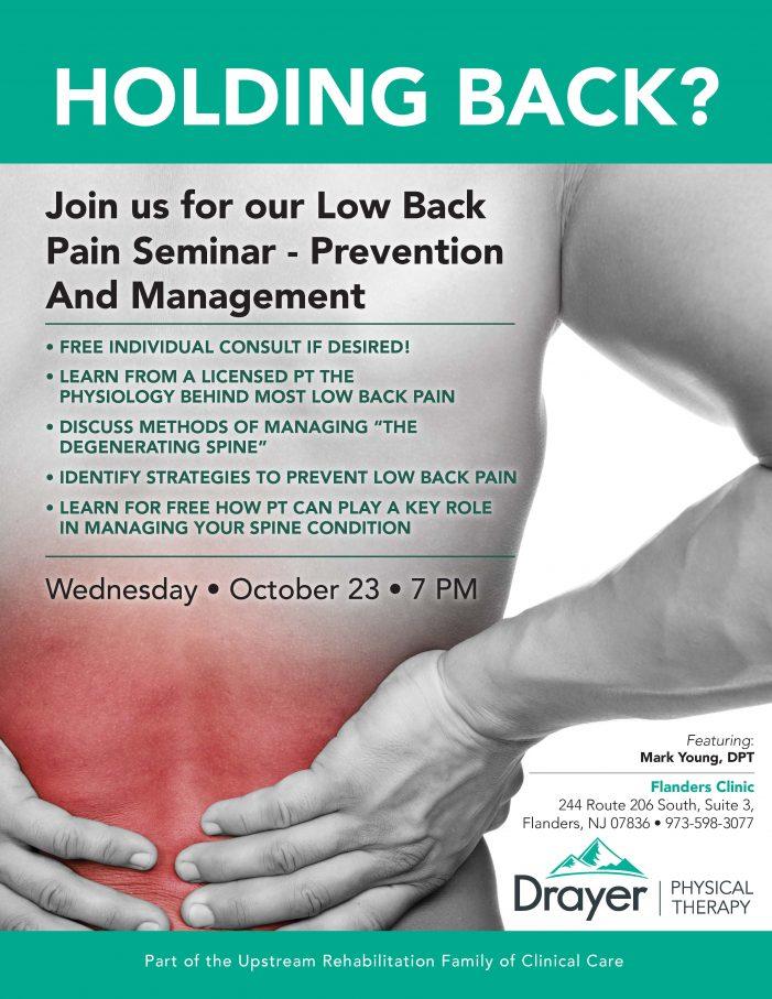 Drayer to host Free back Pain Seminar October 23rd